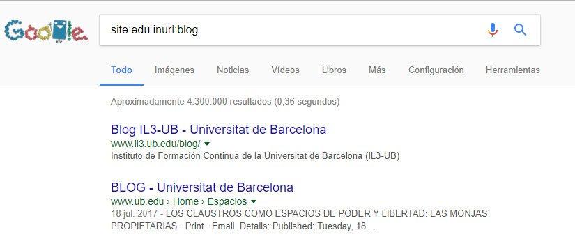 Buscar en google por dominio .edu