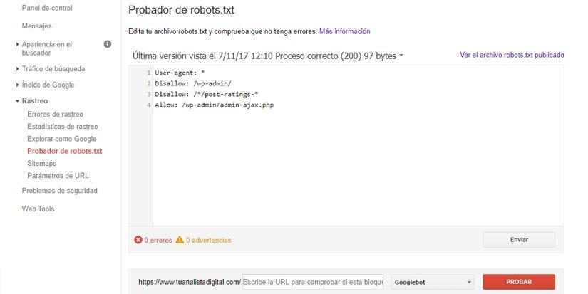 Enviar un nuevo Robots.txt desde Google Search Console