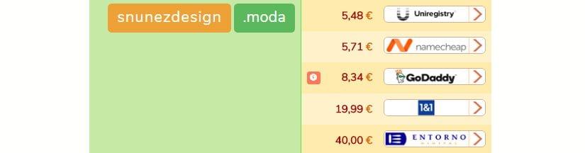 Precios de las nuevas extensiones como la .moda