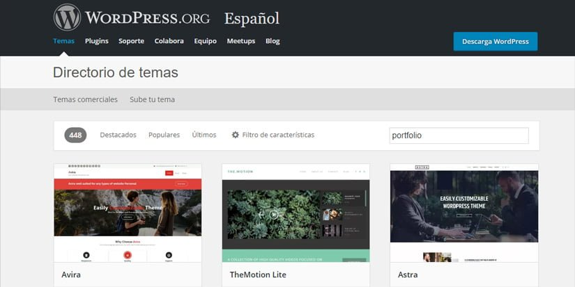 Temas gratis para crear un portfolio en wordPress