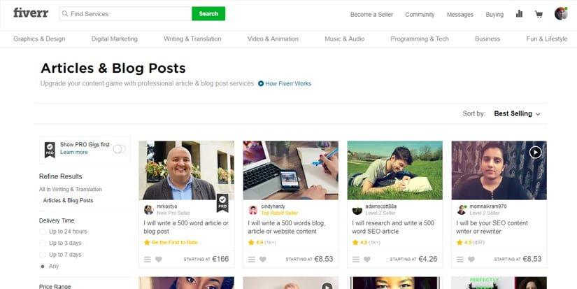 Comprar contenido web buscando frelance en Fiverr
