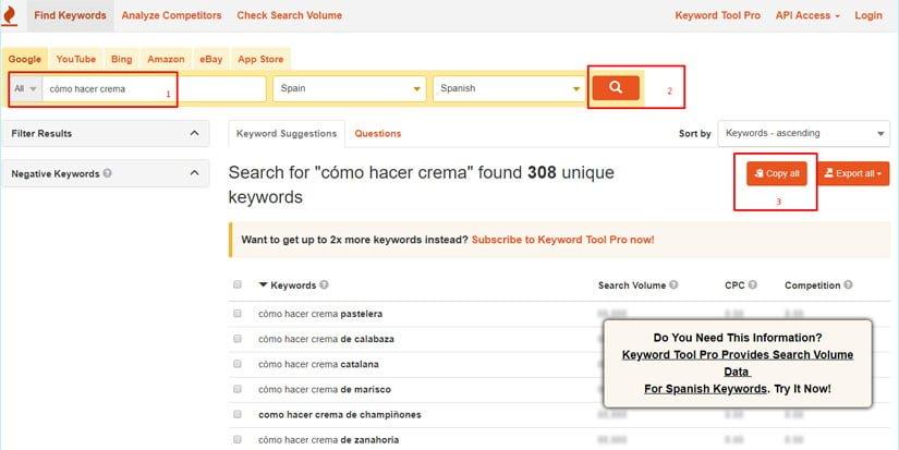 Cómo hacer keyword research con keywordtool