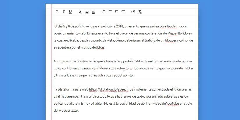 Probando la tool dictation.io para transcribir texto