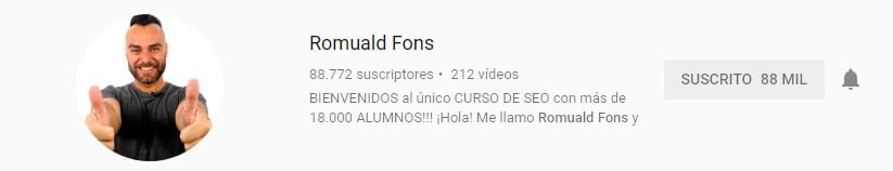 Canal de youtube sobre marketing digital de Romuald Fons