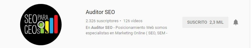 Canal de youtube sobre marketing digital de Auditor SEO