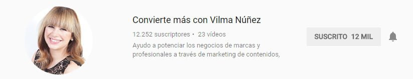 Canal de youtube sobre marketing digital de Vilma Núñez