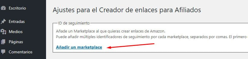 Agregando MarketPlace en el plugin Amazon Associates Link builder