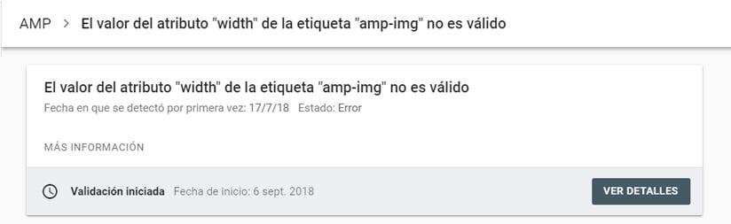 Como validar la corrección de los errores en AMP