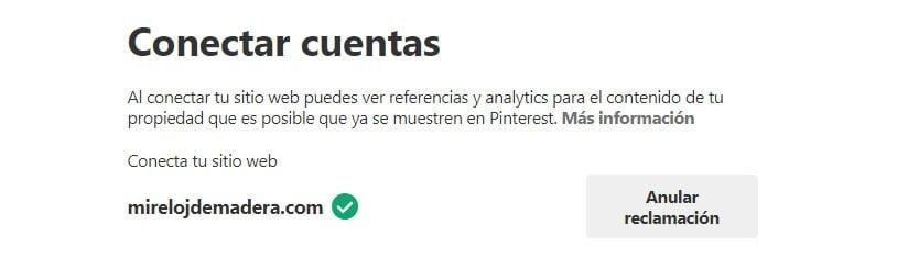 Cómo vincular tu cuenta de pinterest a tu web