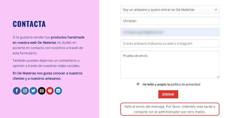 Error de contact form 7 fallo en el envío